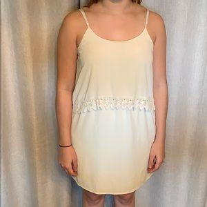 Cream Cinch Waist Dress